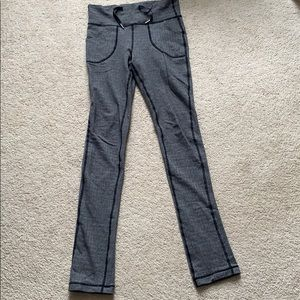 lululemon skinny will pant black herringbone sz 4